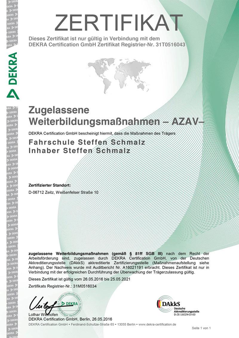 Zugelassene Weiterbildungsmaßnahmen – AZAV